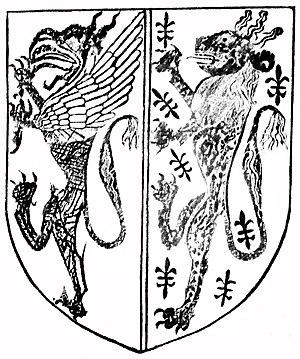 John Beaumont, 4th Baron Beaumont - Heraldic escutcheon incised on tombstone of Reginald de Botreaux (d.1420), died young, whose mother was Elizabeth Beaumont, daughter of John Beaumont, 4th Baron Beaumont. Aller Church, Somerset. It shows the impaled arms of his parents: Baron: Argent, a griffin segreant gules armed azure (Botreaux); Femme: Azure seme of fleurs-de-lis a lion rampant or (Beaumont)