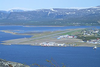Alta Airport - Aerial view of the airport from 2005, before the new terminal was built. Bukta in the foreground, the mouth of the Altaelva in the background.