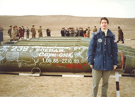 Ambassador Eileen Malloy, chief of the arms control unit at the U.S. Embassy in Moscow at the destruction site in Saryozek in early 1990. Ambassador Malloy Witnesses the Elimination of the Last Soviet Short-Range Missiles Under the INF Treaty.jpg