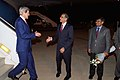 Ambassador Verma greets secretary Kerry upon arrival in India for Vibrant Gujarat Summit.jpg