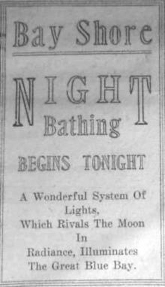 North Point State Park - 1921 newspaper ad for Bay Shore Park
