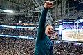 An Eagles fan celebrates druing the fourth quarter at Super Bowl LII, Minneapolis MN (39217523935).jpg