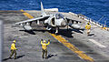 An Italian Navy AV-8B Harrier aircraft prepares to take off from the flight deck of the amphibious assault ship USS Kearsarge (LHD 3) in the Atlantic Ocean Nov. 1, 2013 131101-M-SO289-011.jpg