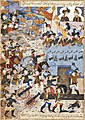 An illustrated and illuminated leaf from the Tarikh-i 'alam-ara-yi Abbasi of Iskander Bayg Munshi the capture of Yerevan citadel, Persia, Isfahan, circa 1650 Sotheby's.jpg