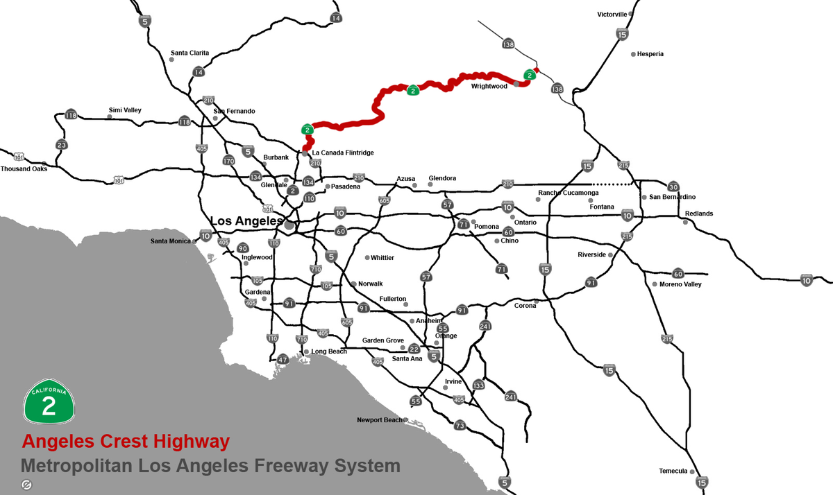 Angeles Crest Highway Wikipedia - Los angeles freeway map traffic