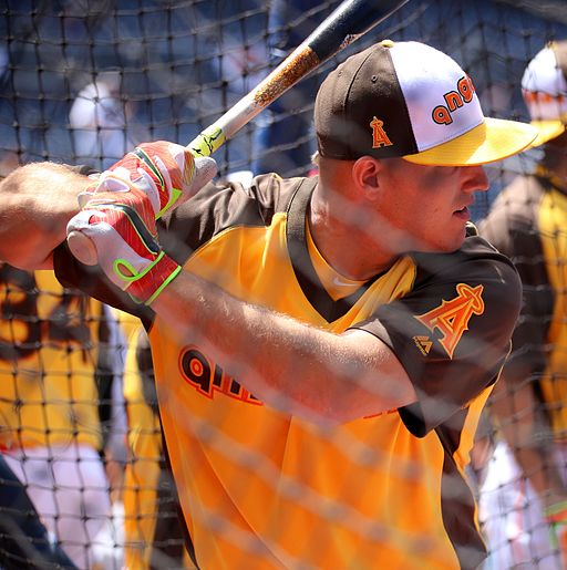 Angels outfielder Mike Trout takes batting practice on Gatorade All-Star Workout Day. (28045135834)