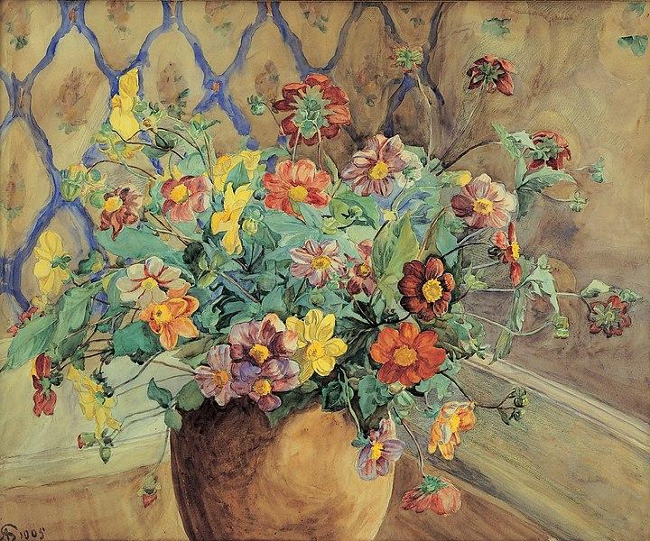 File:Anna Syberg - Branche de pommier en fleurs.jpg