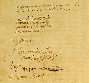 Mícheál Ó Cléirigh - Signature page from the Annals of the Four Masters, Ó Cléirigh's signature is first in the list
