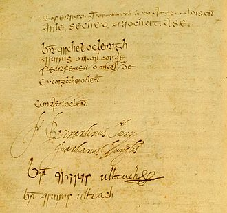 Connacht - Signature page from the Annals of the Four Masters, Peregrine Ó Duibhgeannain's signature is last in the list