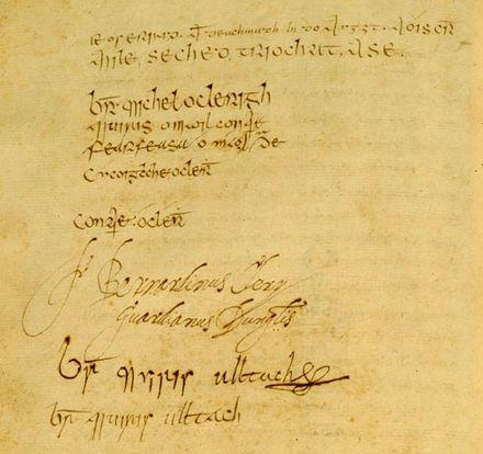 Signature page from the Annals of the Four Masters - Kingdom of the Isles