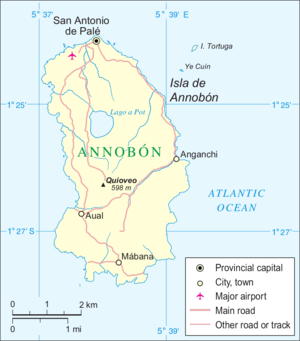 Location of San Antonio de Palé on the island of Annobón