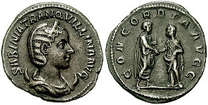 Coin issued to celebrate the marriage of Gordian to Sabina Tranquillina, Augusta.