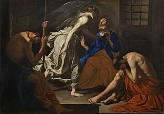 Liberation of Peter In Acts of the Apostles, chapter 12 the apostle Peter is rescued from prison by an angel.