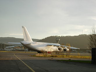 Trondheim Airport, Værnes - An Antonov An-124 Ruslan cargo aircraft parked at the military sector