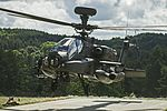 Apache Attack Helicopter from 4 Regiment Air Air Corps taking of for mission tasking over Hohenfels Training Area. MOD 45160070.jpg
