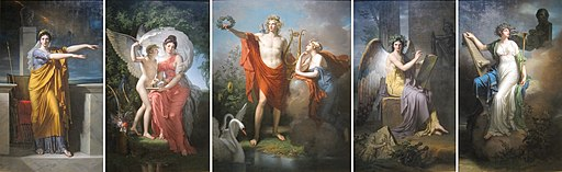 Apollo and the Muses, oil on canvas pentyptych by Charles Meynier, Cleveland Museum of Art