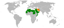 Map indicating locations of Arab League and Iran