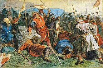 1859 in art - Image: Arbo Olav den helliges fall i slaget på Stiklestad
