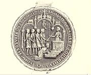 A Seal of the Abbot of Arbroath, depicting the murder of St. Thomas. Arbroath Abbey was founded 8 years after the death of St. Thomas and dedicated to him; it became the wealthiest abbey in Scotland.