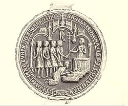 Seal image of a crowd of men attacking a kneeling figure before an altar.