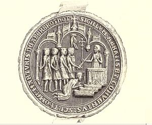 Arbroath Abbey - Abbey seal, depicting murder of St Thomas.