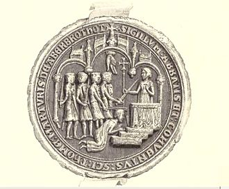 Thomas Becket - A Seal of the Abbot of Arbroath, showing the murder of Becket. Arbroath Abbey was founded 8 years after the death of St. Thomas and dedicated to him; it became the wealthiest abbey in Scotland.