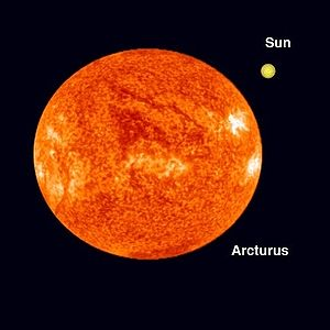 Arcturus' size relative to the Sun.