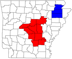 Combined statistical areas of Arkansas excluding the Hot Springs-Malvern CSA.