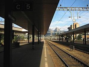 Arth-Goldau railway station - Arth-Goldau station, with the Grosser Mythen in the background