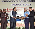 Arun Jaitley handing over a replica of USHUS-II Submarine Sonar to the Chief of Naval Staff, Admiral Sunil Lanba, during the handing over ceremony of the DRDO developed products to the Indian Navy, in New Delhi.jpg