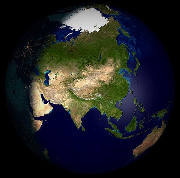 Műholdfelvétel Ázsiáról