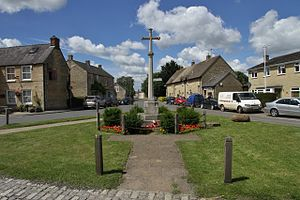 Aston, Oxfordshire - War memorial at the centre of Aston