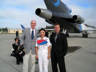 Astronauts Daniel Barry (left), Soyeon Yi (center), and Christopher Altman aft of G-Force One following a parabolic flight at NASA Ames in 2009. Altman and Yi are now both active commercial scientist-astronauts with the Association of Spaceflight Professionals