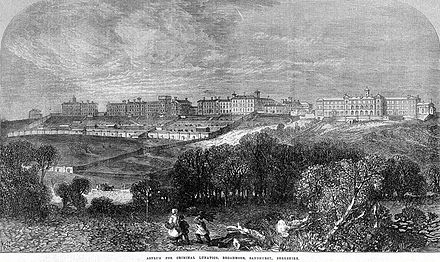 Illustration de l'asile de Broadmoor en 1867.