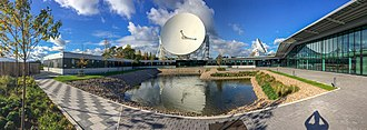 Square Kilometre Array - The SKA headquarters at Jodrell Bank, with the Lovell Telescope in the background