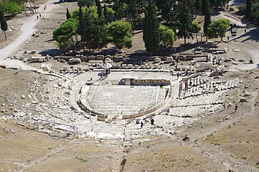 Modern picture of the Theatre of Dionysus in Athens, where many of Aeschylus's plays were performed Athen Theatre of Dionysus BW 2017-10-09 14-29-49.jpg