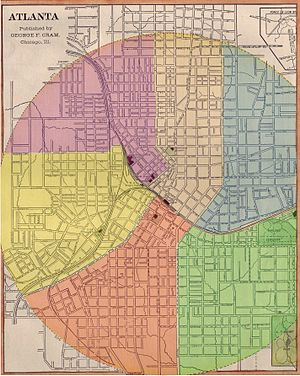 Atlanta annexations and wards - Layout of Atlanta's six wards (1883 to 1894)