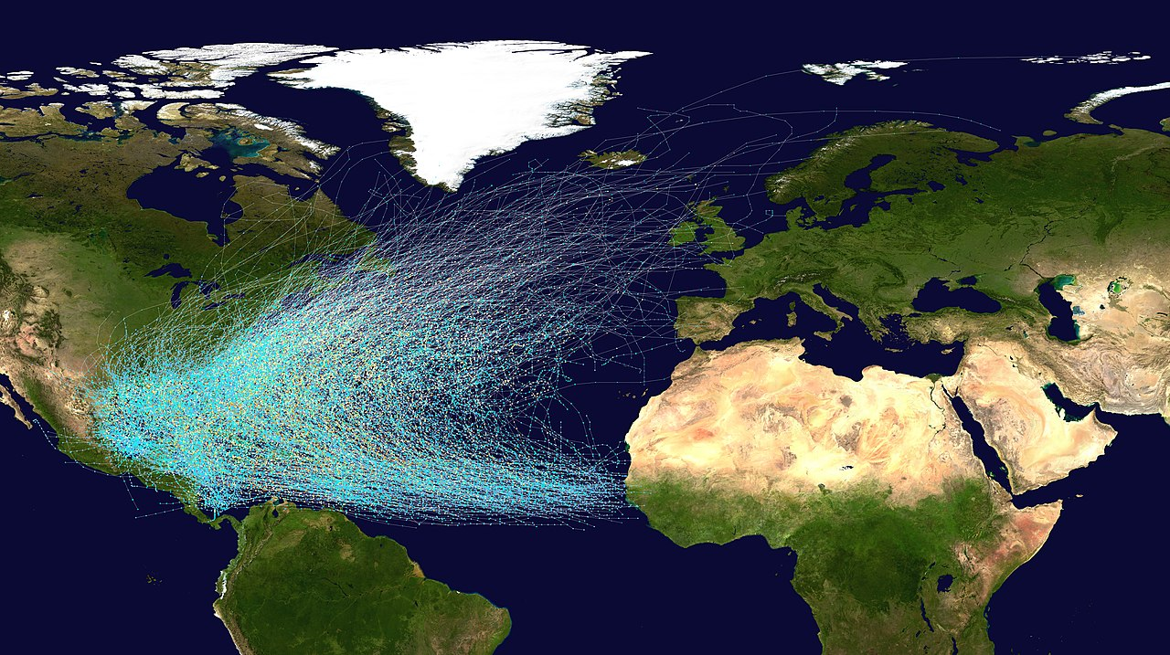 Image displays the tracks of all Atlantic hurricanes which formed between 1851 and 2005