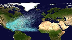 Atlantic hurricane - Tracks of North Atlantic tropical cyclones (1851—2012)