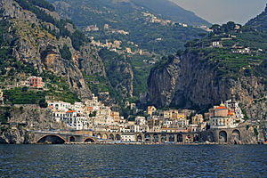 Atrani - View of Atrani and the Amalfi Coast from the Tyrrhenian Sea