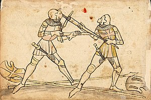 German school of fencing - Halbschwert against Mordstreich in the Codex Wallerstein (Plate 214)