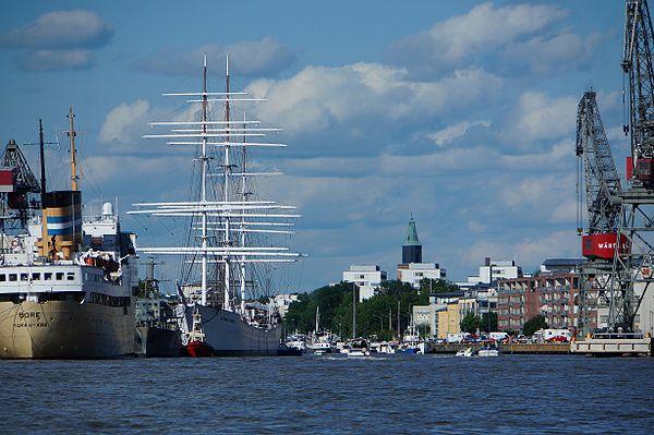 Aura ås mynning sammanfaller med Åbos hamn