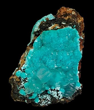 Aurichalcite - Clear Smithsonite over blue Aurichalcite from Kelly Mine, Soccorro co., New Mexico