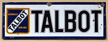 Automobiles Talbot Suresnes, Enamel advert sign at the den hartog ford museum pic-001.JPG