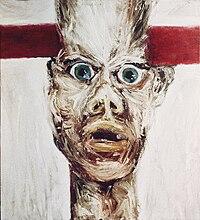 Autportret z poprzeczką, 1985, olej, 73x65.jpg