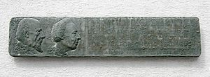 Cécile Vogt-Mugnier - Plaque for Oskar and Cécile Vogt on the building of the Institute for Brain Research in Berlin-Buch. The plaque was created in 1965 by sculptor Axel Schulz.