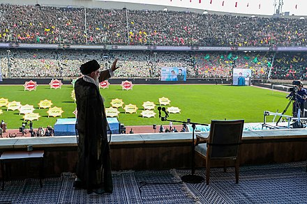 Khamenei at the Great Conference of Basij members at Azadi stadium, October 2018 Ayatollah Ali Khamenei at the Great Conference of Basij members at Azadi stadium October 2018 033.jpg