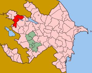 Tovuz District - Map of Azerbaijan showing Tovuz rayon
