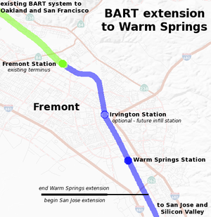 Silicon Valley BART extension - Map of the Warm Springs Extension.