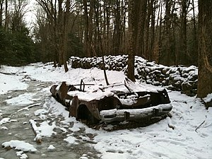 Salmon River Trail Car wreck in the snow on th...